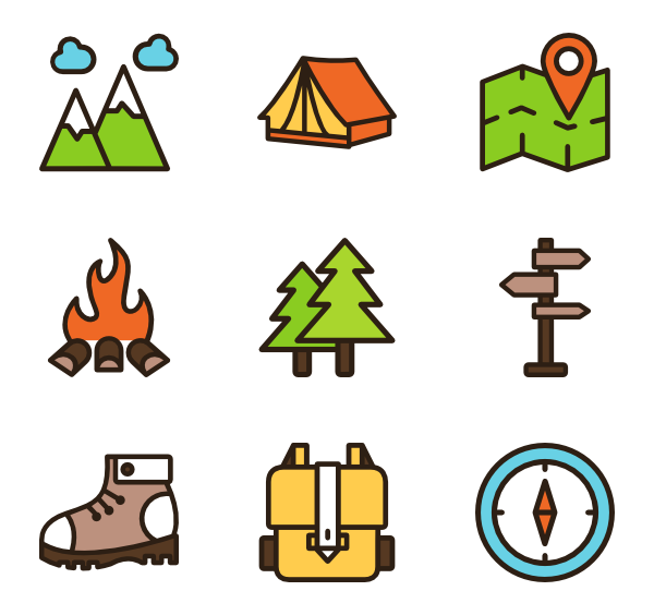 Hiking icons free vector. Hike clipart moutain