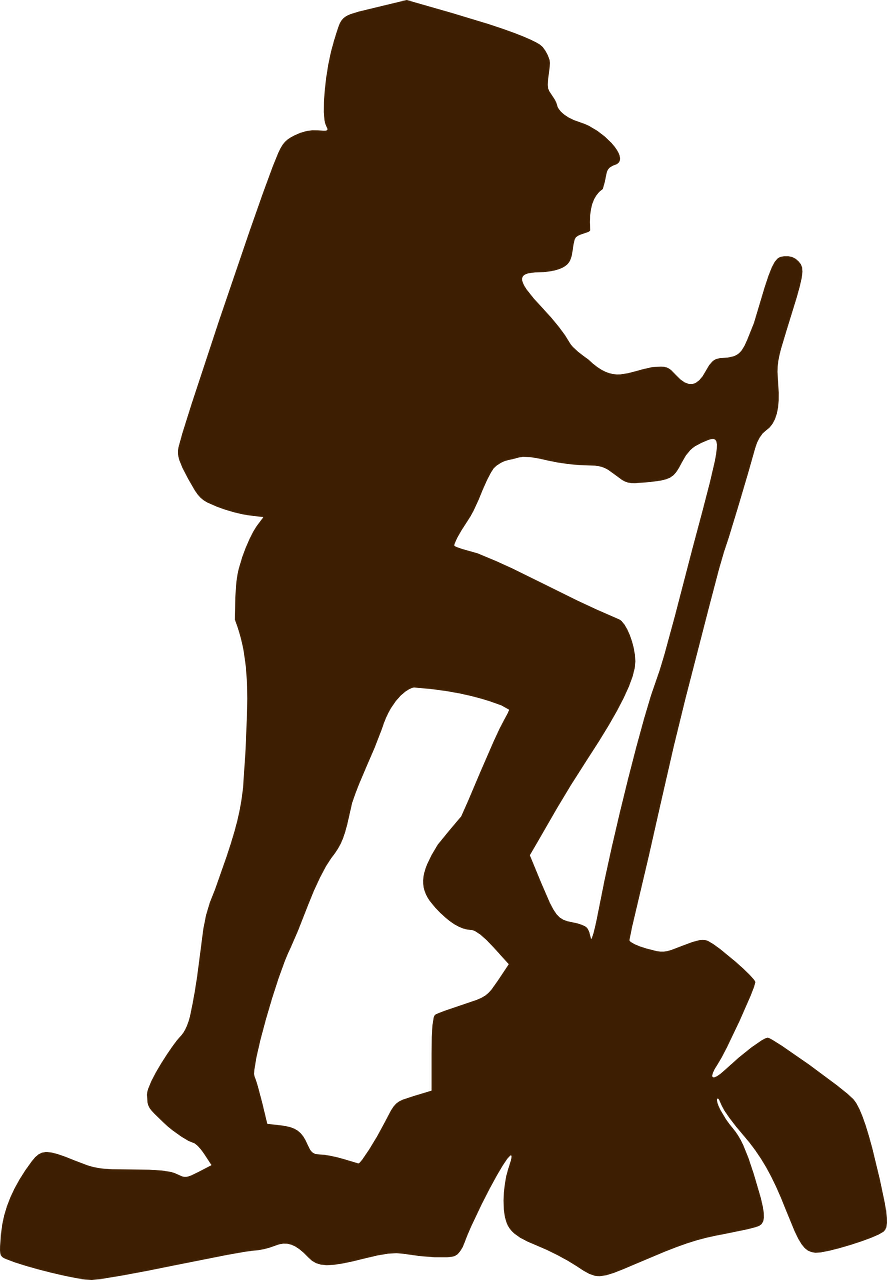 Hiker clipart walking group. Climber brown transparent image