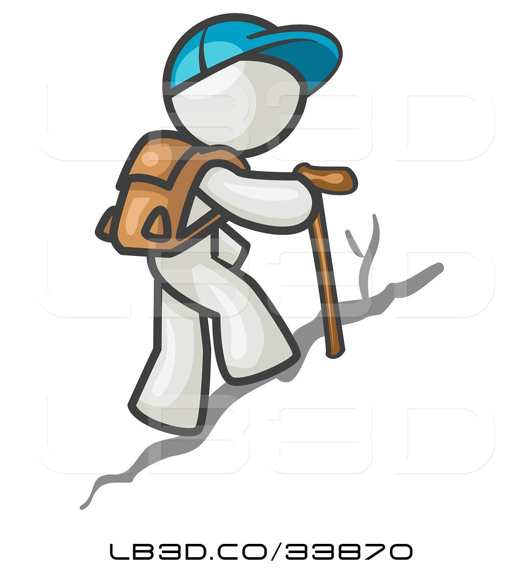 Illustration of white guy. Hike clipart uphill