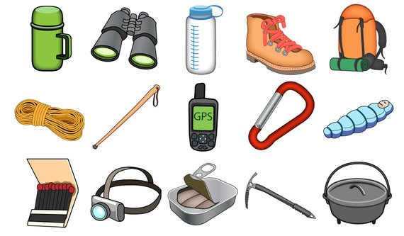 Outdoors icons camping adventure. Hiking clipart wilderness survival
