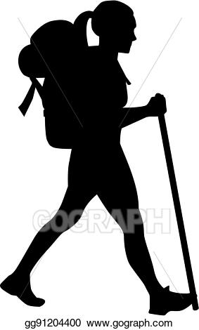 Hiker clipart. Vector stock female illustration