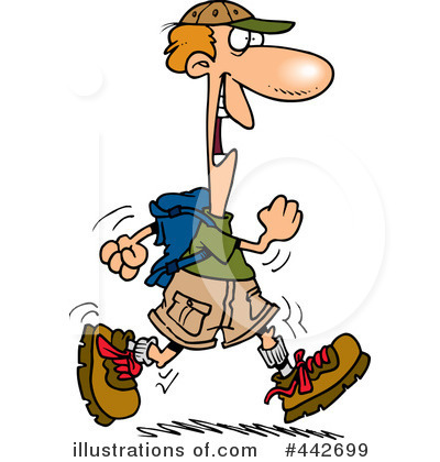 Illustration by toonaday royaltyfree. Hiker clipart