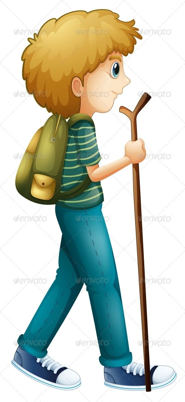 Boy hiking with a. Hiker clipart adventurous girl