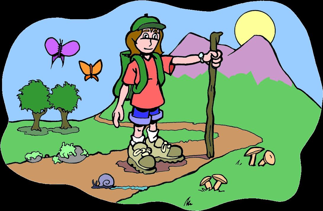 Hiking small mountain kids. Hiker clipart bushwalk