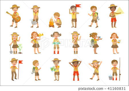 Hiker clipart friendly giant. Kids scouts hiking set