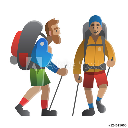 Hiker clipart walking group. Vector illustration on the