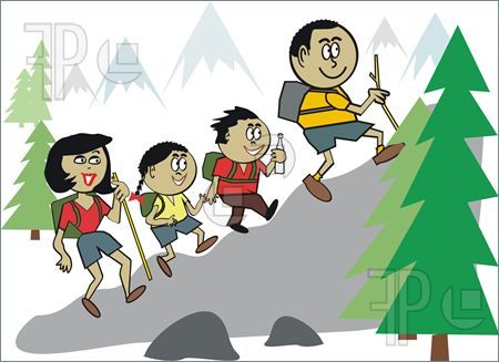 Hike clipart cartoon. Group hiking