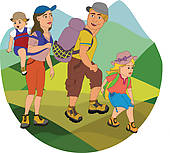 Going on a clip. Hiking clipart family hike