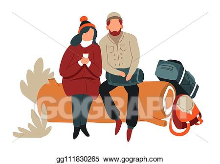 Eps illustration couple sitting. Hiking clipart outdoor activity