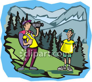 Hiking clipart two mountain. Men in the mountains