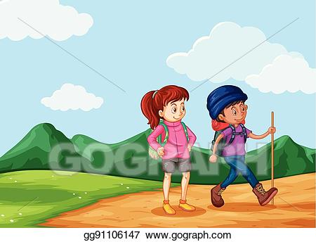 Hiking clipart two mountain. Eps vector hikers up