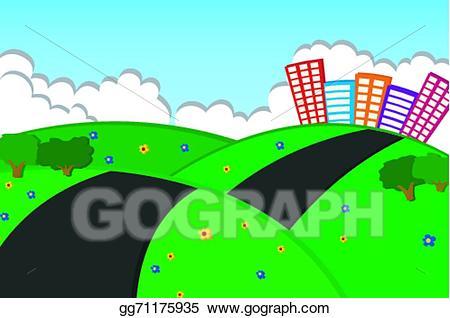 Hill clipart beautiful sky. Vector art city on