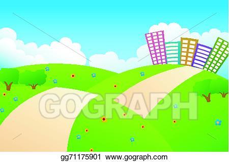 Vector art city on. Hill clipart beautiful sky