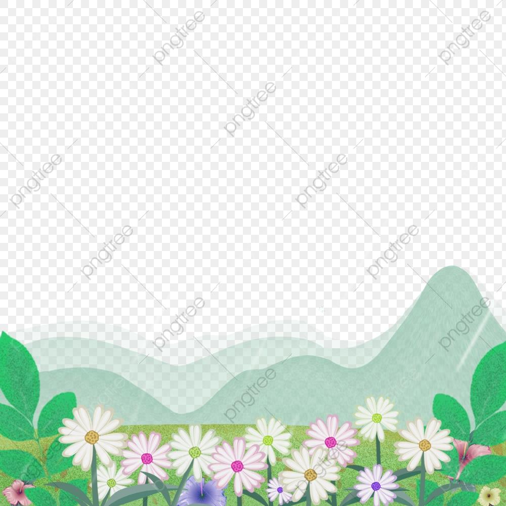 Hills clipart border. Spring landscape mountains green
