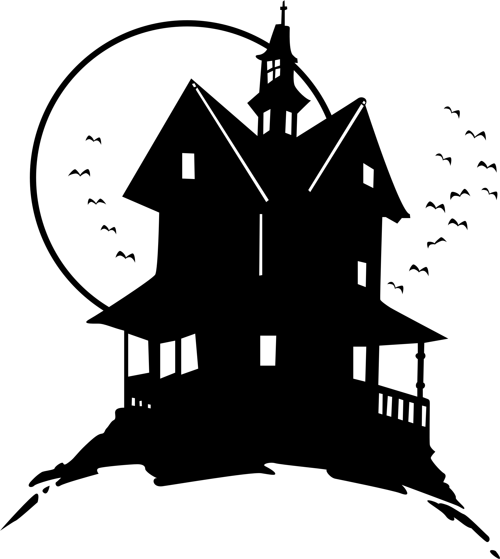 Clipart on the hill. Haunted house png