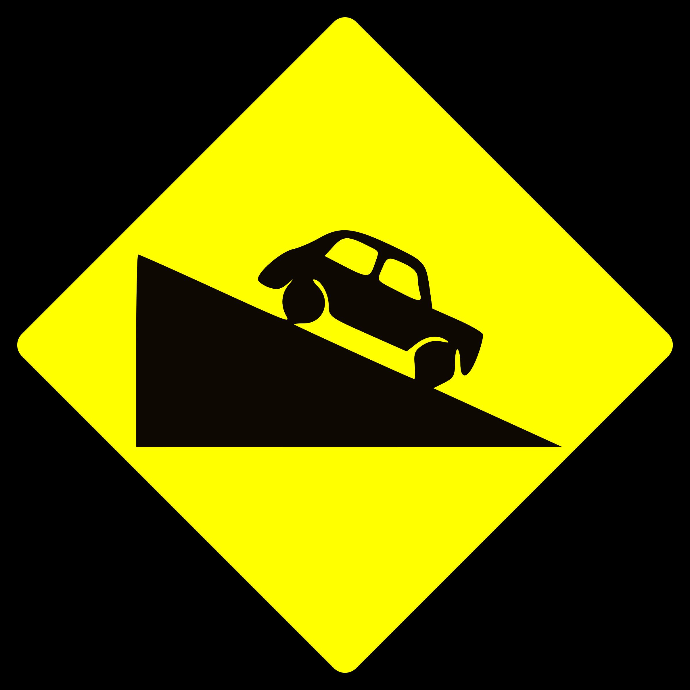 Caution steep down big. Hill clipart clip