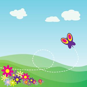 Hill clipart flower. Cartoon hillside with butterfly