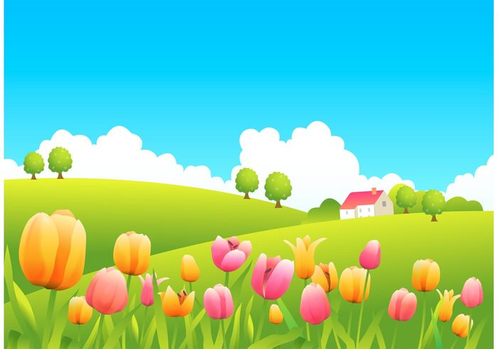 Free rolling hills vector. Hill clipart flower