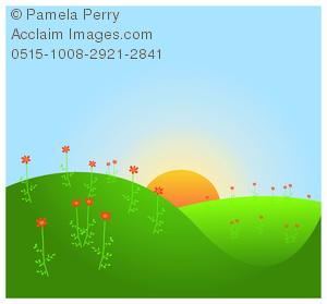 Clip art image of. Hill clipart flower