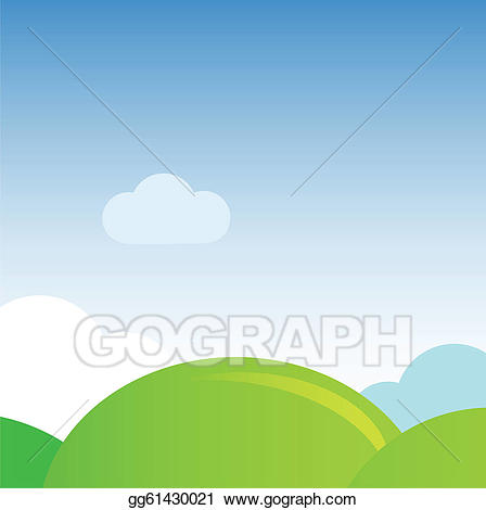 Hills clipart meadow. Eps vector green nature