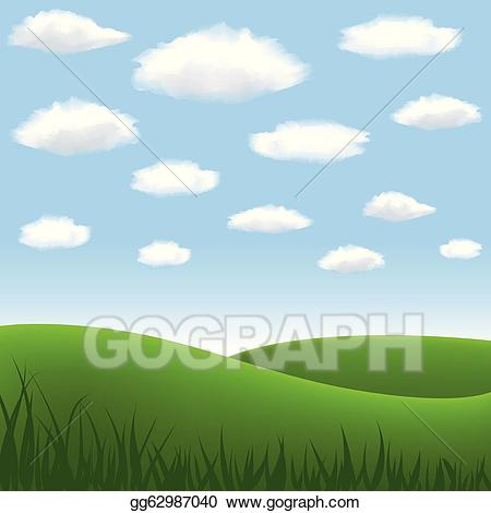 Hill clipart green meadows. Eps illustration meadow and