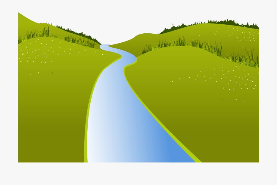 River landscape meadow rio. Hill clipart green meadows