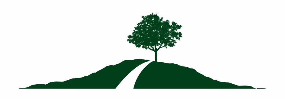 Hills small flat design. Hill clipart hill tree