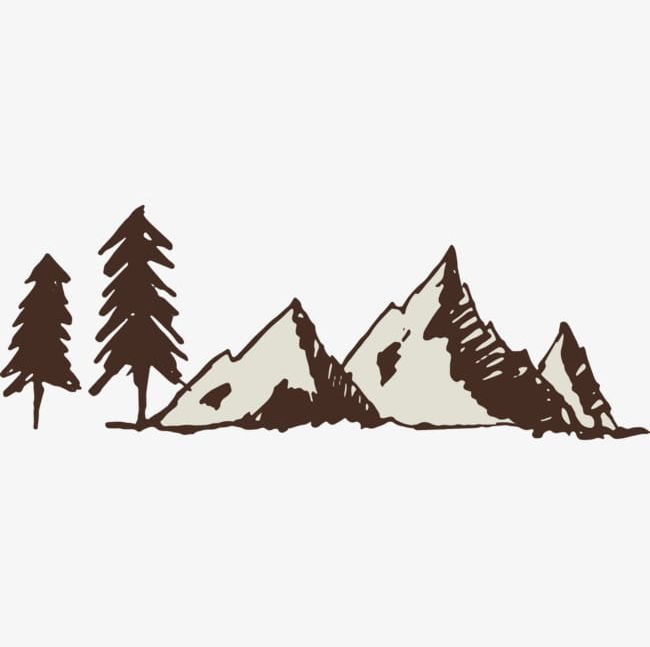 Pine trees and hills. Hill clipart hill tree