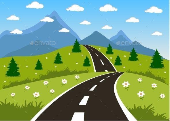 Hills clipart outdoor background. Cartoon spring or summer