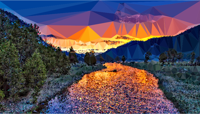 Hill clipart park landscape. Low poly yellowstone national