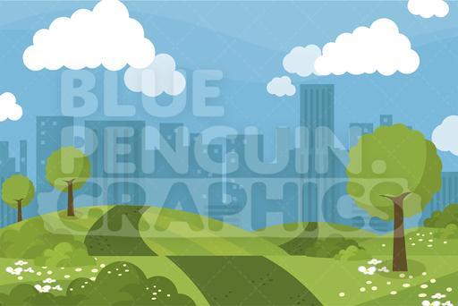Hill clipart park landscape. City graphic background