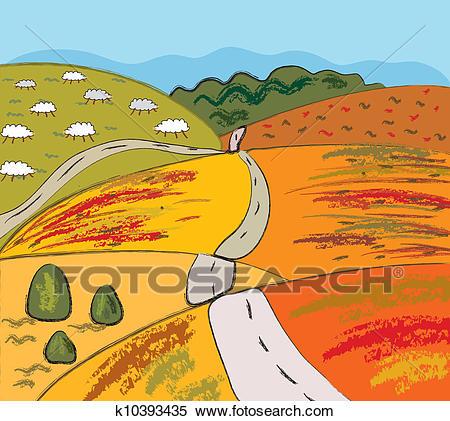 Hill clipart rural road. Free download clip art