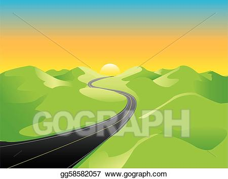 Vector illustration sunshine hills. Hill clipart rural road