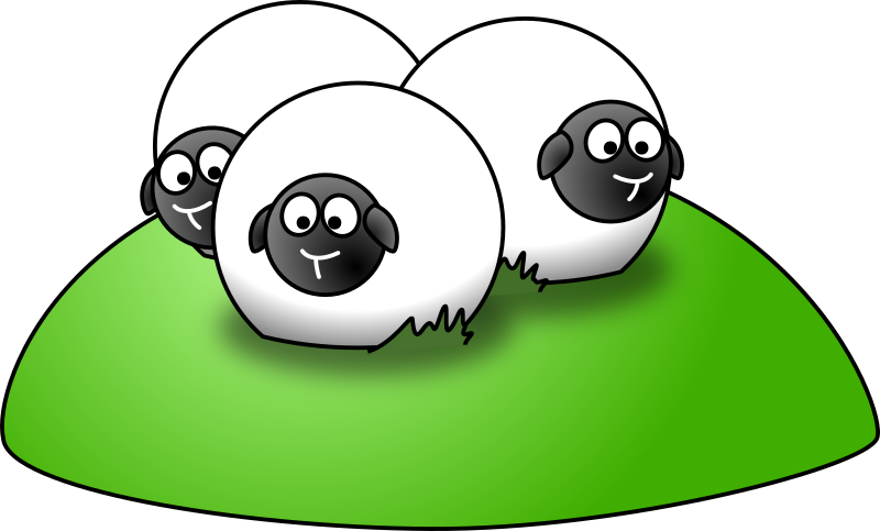 Cartoon sheep medium image. Hill clipart simple