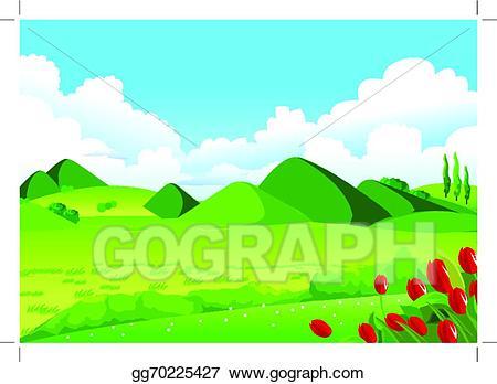 Hill clipart sky cloud. Vector art blue green