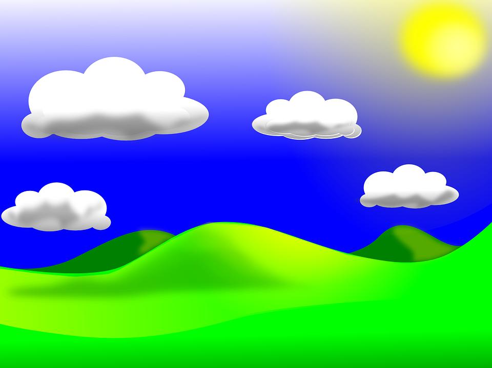 Free download clip art. Hill clipart sky cloud