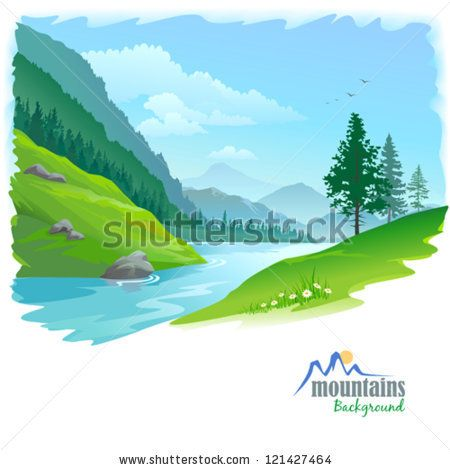 River and distant by. Hills clipart valley