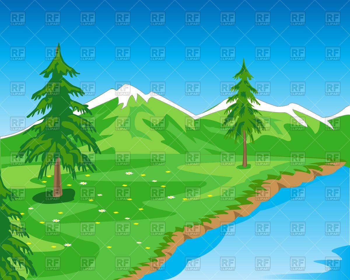 Mountain clipart mountain landscape. Beautiful with seashore stock