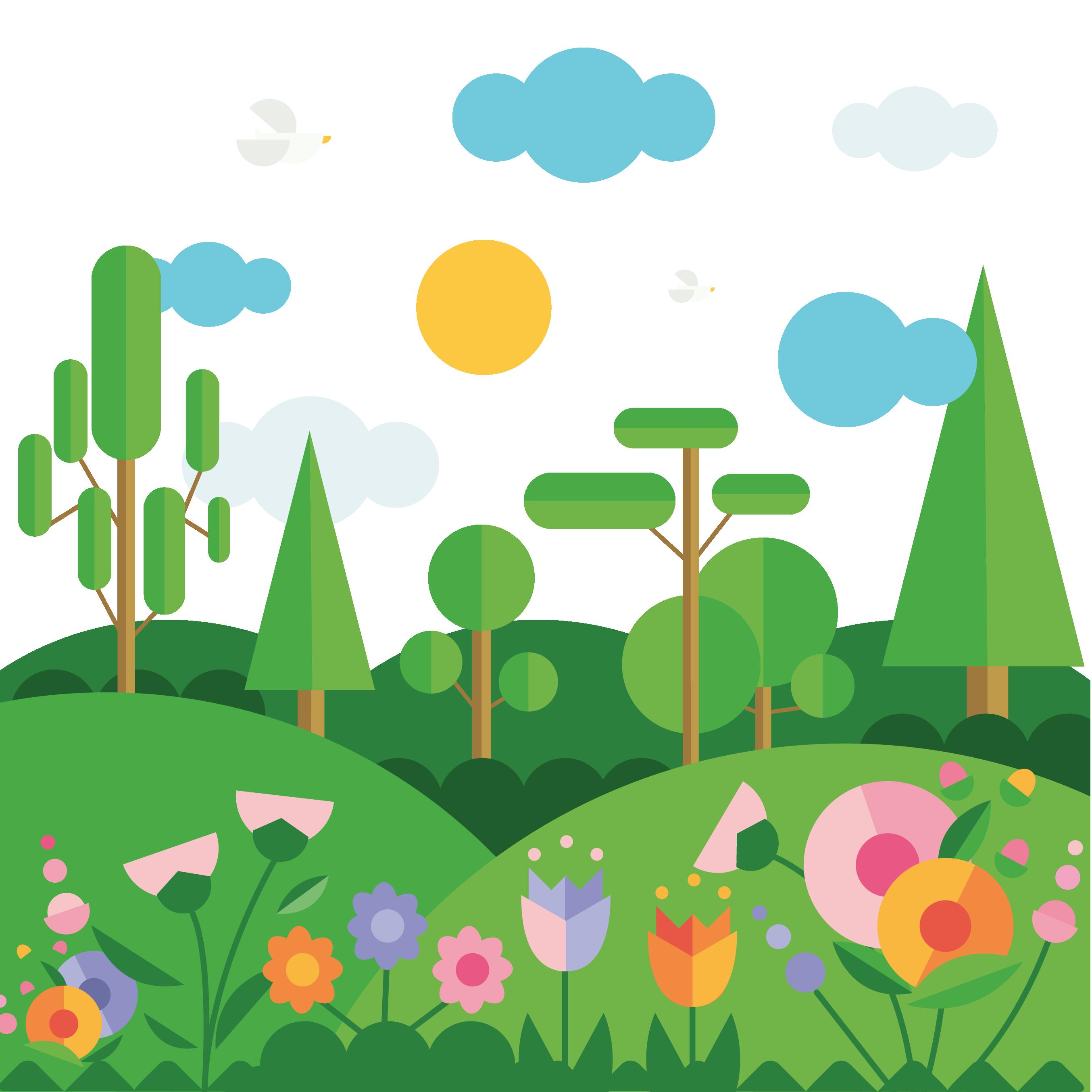 Flat spring mountain vector. Landscaping clipart design landscape