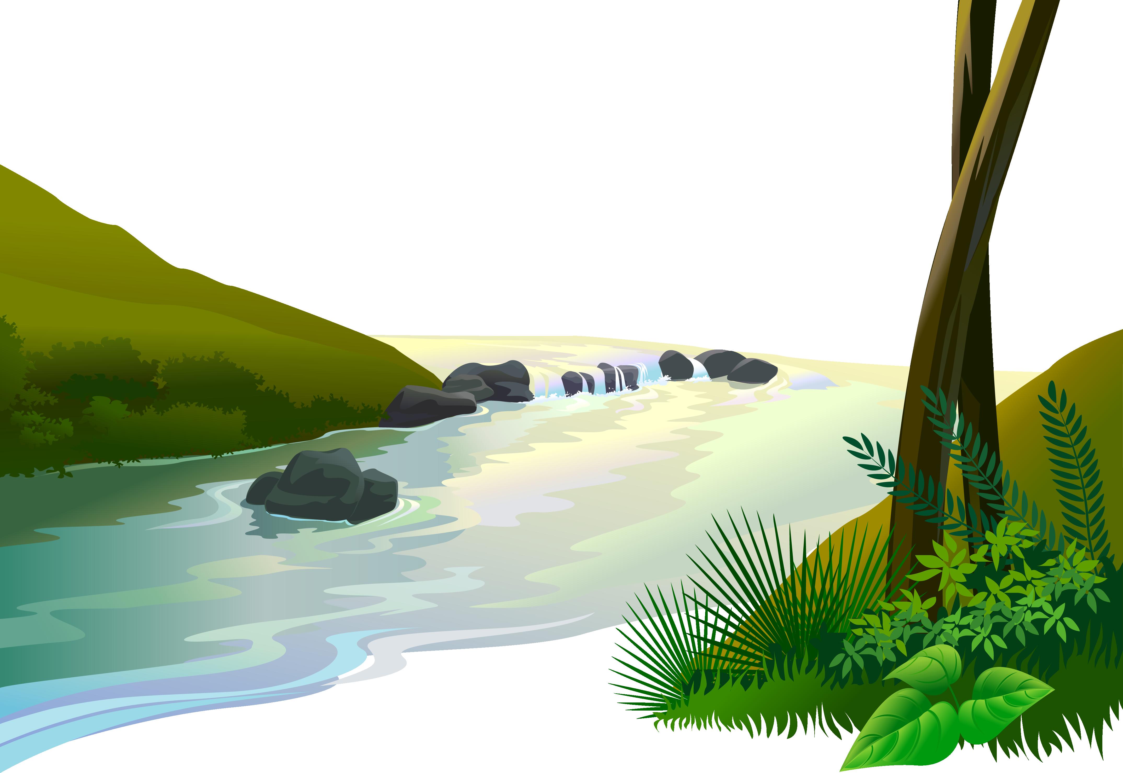 Cartoon clip art vector. Jungle clipart jungle landscape