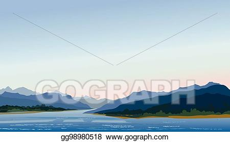 Hills clipart lake mountain. Vector art rural landscape