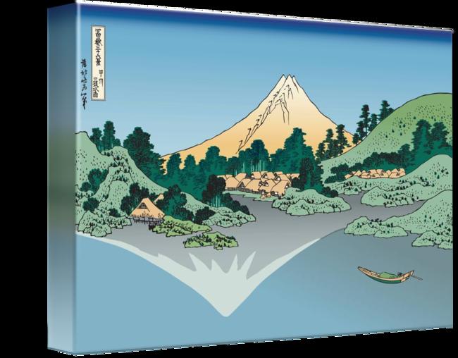Hills clipart lake mountain. Hokusai mount fuji reflects