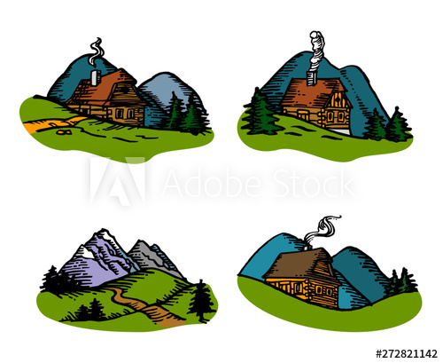 Hills clipart meadow. Mountain landscape with wooden