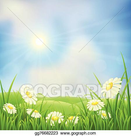 Vector spring illustration . Hills clipart meadow
