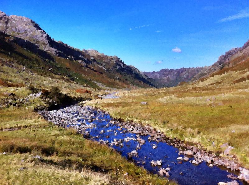 Hills clipart mountain stream. High poly medium image