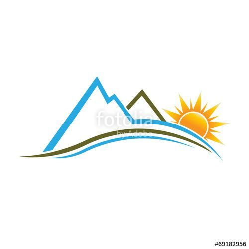 Hills clipart mountain water. Mountains and sun image