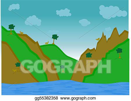 Eps vector goat hill. Hills clipart mountain water