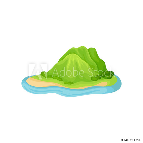 Hills clipart mountain water. Island in blue with