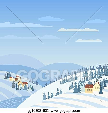 Vector stock rural winter. Hills clipart outside