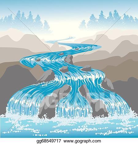 Clip art vector raging. Hills clipart river flow